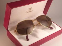 f946f32447d Cartier Panthere 59mm Medium Sunglasses France 18k Gold Heavy Plated 1980  Cartier
