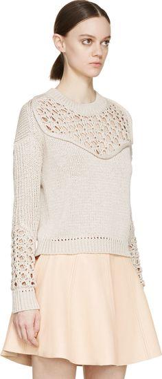3.1 Phillip Lim Beige Pointelle-Knit Sweater