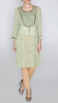 Green Designer Georgette kurtis Designs Online