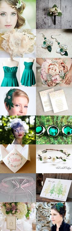 Emerald Green with Touch of Pink by parsi on Etsy--Pinned with TreasuryPin.com