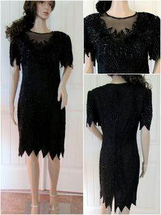 1015faae9a7b6 Black Beaded Dress LAURENCE KAZAR Med Cocktail Party Holiday Sexy Formal  Wedding