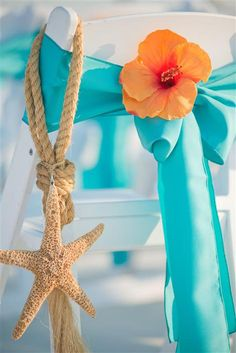 Starfish Chair Hangers : Marriage License Florida : Sunset Beach Wedding : BigDayWeddings.net