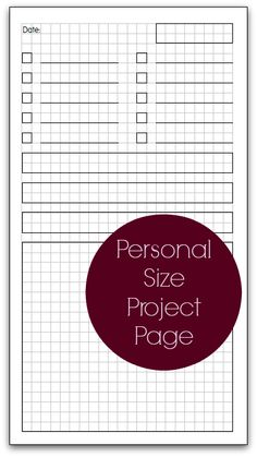 Planner Fun - free inserts, links, hacks & fun: Personal Size Project Page… Printable Planner Pages, Planner Stickers, Free Printables, Agenda Planner, Mom Planner, Planner Book, Planner Ideas, Happy Planner, Midori Travelers Notebook