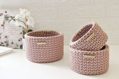 Crochet Organizer, Crochet Storage, Small Storage, Storage Baskets, Farmhouse Baskets, Spa Basket, Square Baskets, Dusty Rose Color, Round Basket