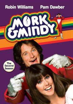 Mork y Mindy Poster. Robin Williams and Pam Dawber. Robin Williams, Perry Mason, Breaking Bad, Mejores Series Tv, Mork & Mindy, Old Shows, Great Tv Shows, Vintage Tv, Vintage Stuff