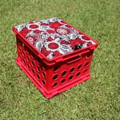 fabric covered crate seat for playroom or classroom.  There is even storage for books and and supplies underneath the pad.