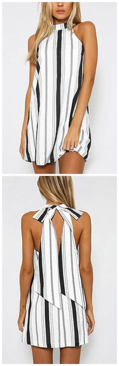 Black Stripe Halter Neck Mini Dress