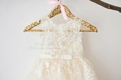 Ivory Lace Champagne Tulle Flower Girl Dress Wedding Bridesmaid Dress with Bow Belt  M0049 by MillyWeddingshop on Etsy https://www.etsy.com/listing/483356931/ivory-lace-champagne-tulle-flower-girl