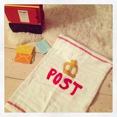 Drawstring post bag made from old tea towel