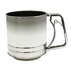 Farberware 5 Cup Flour Sifter. This sifter is made of durable stainless steel to ensure long lasting.  Featuring, a handle with the sifter pulley in one, making sifting that more convenient.  Features: Pulley / handle for one hand sifting Safe to use with any type of cookware Heat resistant up to 450 degrees F Handles 5 cups. $8.99 + Free Shipping.