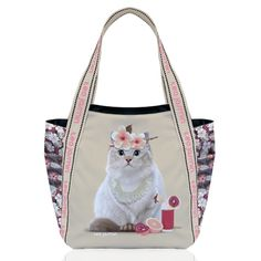 Teo Jasmin Large Cat Tote Bag 'Jasmine Playa' Vanilla