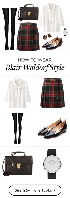 """If you really want something you don't stop for anyone or anything until you get it. - Blair Waldorf"" by redhead-doll on Polyvore featuring Yves Saint Laurent, Marc Jacobs, Rupert Sanderson, Oscar de la Renta and Fogal"