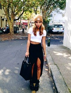 casual outfit but with a slit skirt which makes this outfit very cute and a bit edgy