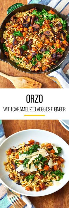 Orzo recipes are the kinds of dishes that you can't help but smile at because their so hearty. This orzo with caramelized fall veggies and ginger is a quick weeknight meal that puts dinner on the table fast while still nourishing the diner. This recipe calls for orzo pasta, grapeseed, peanut, or vegetable oil, large sweet potato, medium onions, garlic cloves, fresh ginger, shiitake mushrooms, balsamic vinegar and Swiss chard or kale.