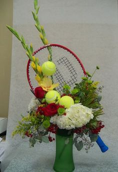 Cute to do with pickleball paddle & balls Art Floral, Deco Floral, Floral Design, Funeral Flower Arrangements, Funeral Flowers, Wedding Flowers, Tropical Floral Arrangements, Modern Flower Arrangements, Ikebana