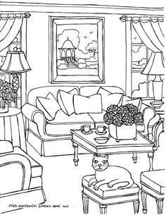 Coloring pages for Adults… Some Drawings of Living Rooms for Adults to Color. - Coloring pages for Adults… Some Drawings of Living Rooms for Adults to Color. Cat Coloring Page, Coloring Pages To Print, Coloring Book Pages, Printable Coloring Pages, Coloring Sheets, Dora, To Color, Easy Drawings, Sketches