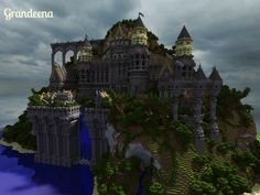 Grandeena Castle minecraft builds amazing tower bridge waterfall sky 3