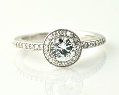 14K White Sapphire and Diamond Ring Halo Setting Engagement Ring Custom 14K 18K White Yellow Rose Gold Platinum Palladium Bridal Jewelry. $808.00, via Etsy.