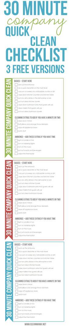 Simplify the Season : 30 Minute Company Quick Clean Checklist - Clean Mama