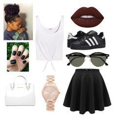Casual Day by indiak308 on Polyvore featuring polyvore fashion style Splendid adidas Originals Michael Kors Ray-Ban Lime Crime clothing