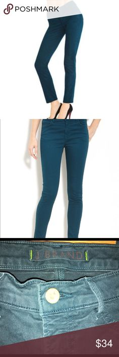 """J Brand Skinny Leg Riviera Blue J Brand Jeans takes your look beyond the blue in these bright, bold twill jeans.  Fits slim and tucks easily into boots with no bunching. Color: Riviera Blue washed 7.5-ounce luxe stretch twill. Size 28 Mid-rise style sits high on hip. Fitted all the way through hip and ankle; 11"""" approx. leg opening. Cropped at ankle to eliminate bunching; approx. 29"""" inseam. Five-pocket detail. Button/zip fly; belt loops. Cotton/spandex. Made in USA. J Brand Jeans Skinny"""
