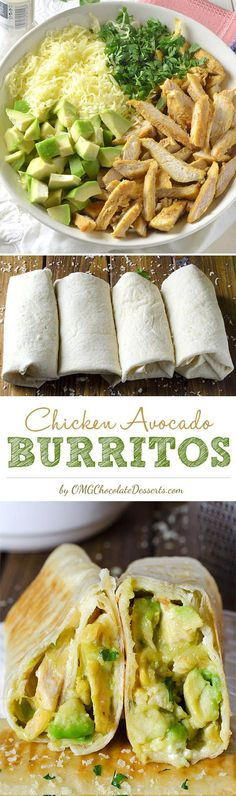 Amazing quick and easy dinner recipes?  Chicken Avocado Burritos come together with just 15 min prep and only 4 ingredients.