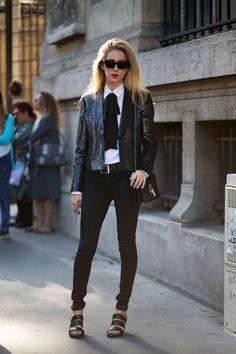 Joanna Hillman in a Saint Laurent shirt and Versace blazer   - HarpersBAZAAR.com