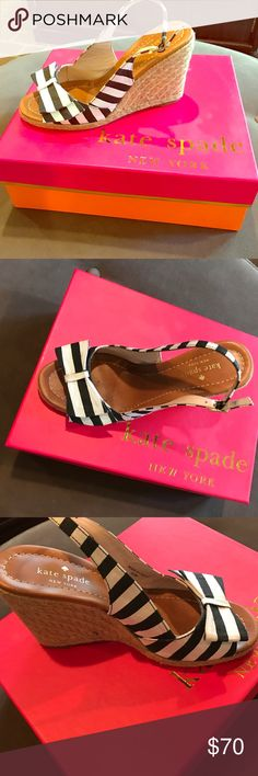 Kate Spade Wedges Boardwalk black/white stripe with bow kate spade Shoes Wedges