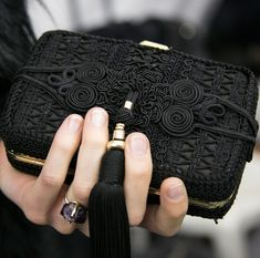 FOR THE ACCESSORIES || Elie Saab black embroidered clutch || NOVELA BRIDE...where the modern romantics play & plan the most stylish weddings... www.novelabride.com @novelabride #jointheclique