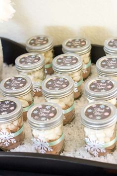 Hot cocoa favors at a winter birthday party! See more party planning ideas at CatchMyParty.com!