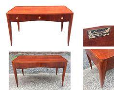 Petit bureau epoque art deco en bois laque et placage de merisier