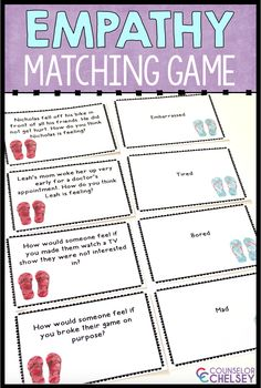 This empathy game is the perfect activity for your school counseling lessons and small groups. This game is a great addition to your friendship and social skills lessons. Students will learn to identify feelings in others and respond appropriately. Social Skills Lessons, Social Skills Activities, Teaching Social Skills, Counseling Activities, Social Emotional Learning, Coping Skills, Life Skills, Career Counseling, Learning Skills