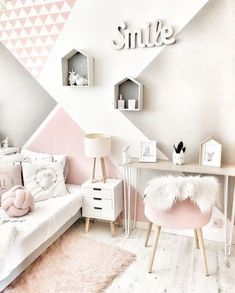 45 stylish & chic kids bedroom decorating ideas for girl and boys 10 Bedroom Wall, Girls Bedroom, Bedroom Decor, Bedroom Ideas, Bedroom Designs, Bed Room, Cozy Bedroom, Fall Bedroom, Bedroom Green