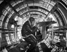 Waist gunner on a B-17 Flying Fortress