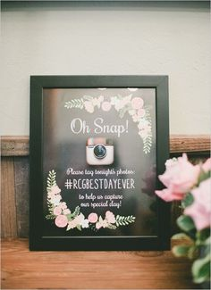 Wedding sign ideas - Chalkboard instagram sign TELL GUESTS WHERE TO SHARE THEIR PICS