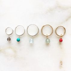 Cut pebble gemstone earrings | Handmade | 14k gold filled & sterling silver