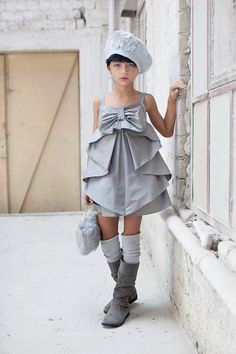 Girl Party Dress Silver Bow Dress Special by CatteliyaTT on Etsy