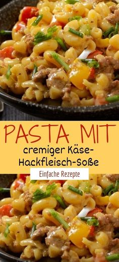 Pasta with creamy minced cheese Pasta mit cremiger Käse-Hackfleisch-Soße Ingredients for 4 servings: 400 g pasta 2 red onions 1 tablespoon of germ oil (e. from mazola) 400 g minced meat, mixed paprika, red paprika, yellow paprika, green 200 ml milk - Lacto Vegetarian Diet, Vegetarian Recipes, Healthy Recipes, Meat Recipes, Pasta Recipes, Chicken Recipes, Meat Sauce, Cheese Sauce, Mince Meat