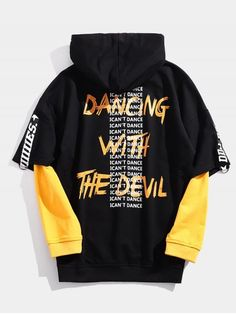 Streetwear Fake Two Piece Letter Hoodie BLACK RED Within the last 30 years, the evolution Black Hoodie Outfit, Plain Black Hoodie, Yellow Hoodie, Aesthetic Hoodie, Cool Hoodies, Men's Hoodies, Cool Outfits, Preppy Outfits, Shirt Designs