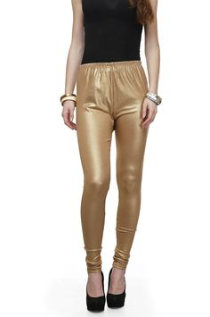 Legis Women's Poly Cotton Shimmer Golden Leggings  Color : Golden Color Fabric: poly cotton Super skinny fit, Casual Wear Length: 43 Inch, Rise= Low Rise ,9 Inch Product color may slightly be different due to brightness