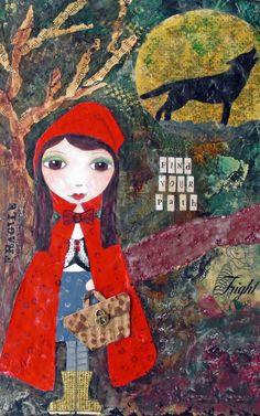 Little Red Riding Hood Mixed Media Collage di di AliciaHayesArt Red Riding Hood Wolf, Little Red Ridding Hood, Charles Perrault, Red Hood, Mixed Media Art, Collage Art, Character Art, Illustrators, Fairy Tales