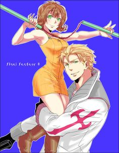 Selphie and Seifer - Final Fantasy VIII. Never seen a fanart with these two... Weird pairing but cute art!