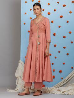 Peach Embroidered Cotton Angrakha Kurta - All About Stylish Dresses For Girls, Elegant Dresses For Women, Simple Dresses, Trendy Outfits, Indian Bridesmaid Dresses, Indian Dresses, Indian Outfits, Silk Kurti Designs, Kurta Designs Women
