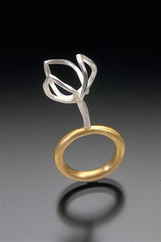 """Three Rings (detail)  from Structural Series #2: Deconstruction 1999  18k gold, sterling silver  each approx. 1"""" x 2"""" x .5""""  one-of-a-kind  $3980 (set of three)"""