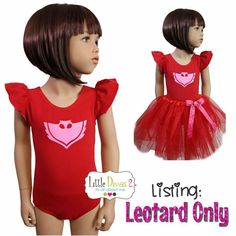 Máscara de PJ aleteo manga Leotard sólo para por LittleDivas2 Disney Halloween, Family Halloween, Super Hero Costumes, Girl Costumes, Fairy Costume Diy, Red Leotard, Tutu, Mask Girl, Mask Party