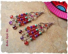 Boho Chandelier Earrings Gemstone Earrings Festive by BohoStyleMe