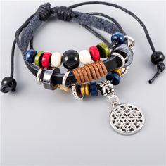 OHM Hindu Buddhist AUM OM Charm Leather Bracelets Hinduism Yoga India Hindoo Jewelry