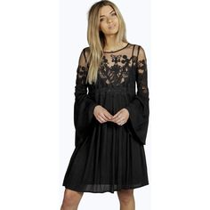 boohoo boutique Boutique Carmen Lace Wide Sleeve Dress ($40) ❤ liked on Polyvore featuring dresses, black, black tuxedo, black bodycon dress, bodycon maxi dress, sequin party dresses and bodycon dress