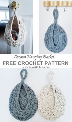 Cocoon Hanging Basket – FREE PATTERN Add this handy cocoon hanging basket to your front door, a hook, your bed post… anywhere you need a. Crochet Simple, Knit Or Crochet, Crochet Crafts, Yarn Crafts, Free Crochet, Crochet Bags, Crochet Hammock, Crotchet, Diy Crafts