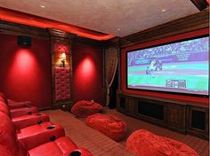 A Private Screening Room Is The Ultimate Amenity For The Movie Elite This theater has huge bean bags Home Cinema Room, Home Theater Rooms, Home Theater Design, Movie Theater Basement, At Home Movie Theater, Pedicure Chairs For Sale, Floor Protectors For Chairs, Room Screen, Man Cave Home Bar